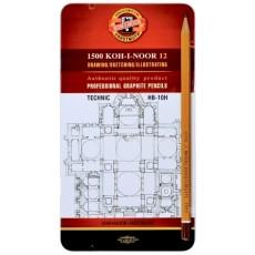 Набір чорнографічних олівців 12 штук KIN HB-10H в металевому футлярі