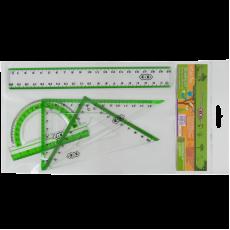 Набір для креслення ZB.5680-15 Лінійка 20 см, 2 Трикутники, Транспортир