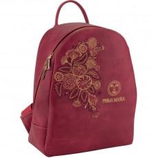 Рюкзак молодіжний Dolce Kite 17-2512XS-1 шкірзам вишневий,кольорова вишивка